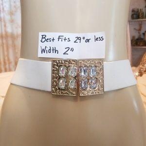 Accessories - Vintage White elastic Rhinestone belt